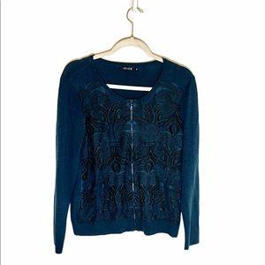 NIC+ZOE Embroidered Full Zip Sweater